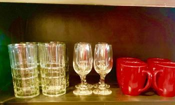 real wine glasses and coffee mugs